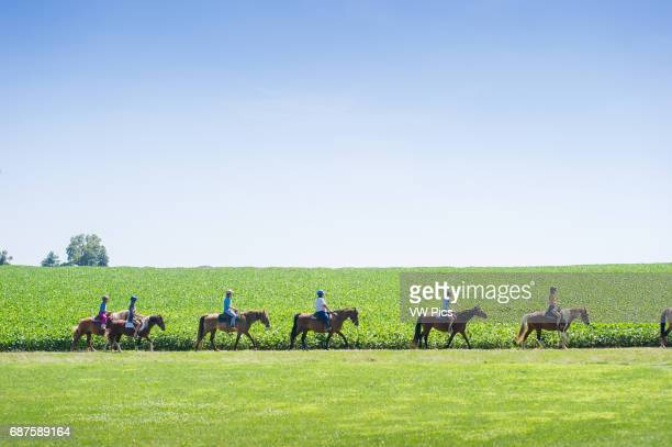 Teenagers trail riding in Walkersville Maryland USA