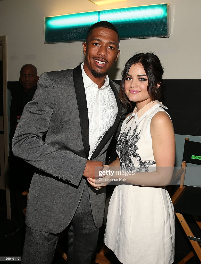 TeenNick Chairman and HALO Awards host <a gi-track='captionPersonalityLinkClicked' href=/galleries/search?phrase=Nick+Cannon&family=editorial&specificpeople=202208 ng-click='$event.stopPropagation()'>Nick Cannon</a> and actress <a gi-track='captionPersonalityLinkClicked' href=/galleries/search?phrase=Lucy+Hale&family=editorial&specificpeople=4430849 ng-click='$event.stopPropagation()'>Lucy Hale</a> attend Nickelodeon's 2012 TeenNick HALO Awards at Hollywood Palladium on November 17, 2012 in Hollywood, California. The show premieres on Monday, November 19th, 8:00p.m. (ET) on Nick at Nite.