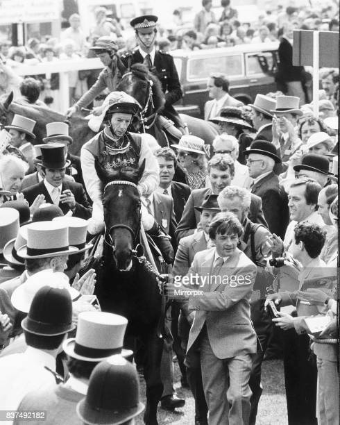 Teenoso and jockey Lester Piggott after winning the Derby being lead in at Epsom 1st June 1983