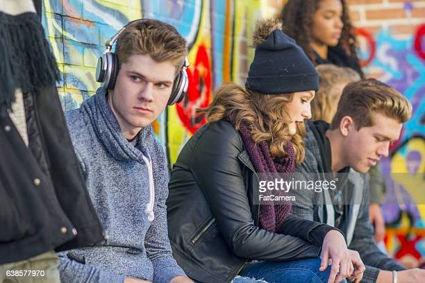 Teens Hanging Out Downtown