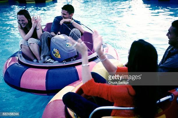 Teens in water park