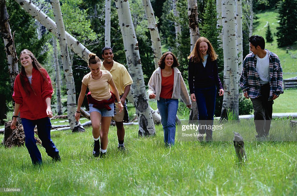 Teens Walking in a Forest : Stock Photo