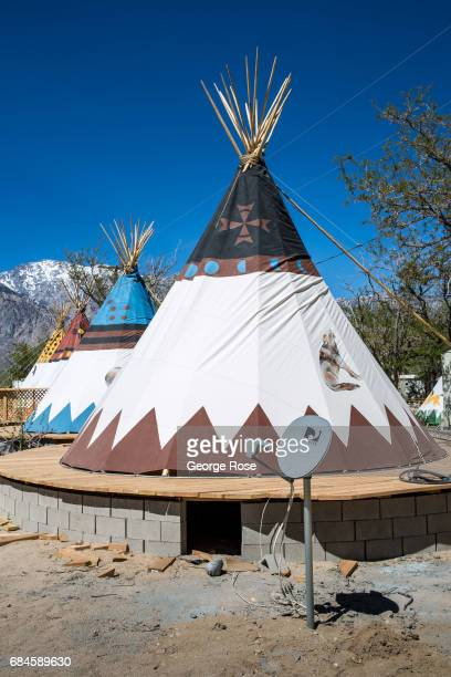 A teepee motel located adjacent to an RV motorhome park along Highway 395 is viewed on April 4 in Olancha California Owens Valley is an arid valley...