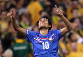 Teerasil Dangda of Thailand celebrates after scoring a goal during the Asian Qualifying 2014 FIFA World Cup match between the Australian Socceroos...