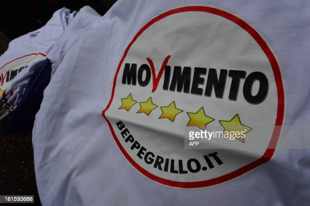 Teeshirts advertising the populist Five Star Movement are displayed during an electoral rally on February 12 2013 in Bergamo northern Italy...
