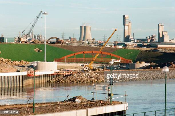 Teesside Barrage is raised holding back the waters of the Tees The ICI Nitram tower overlooks the canoe course under construction 12th December 1994