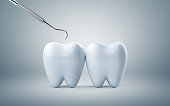 Teeth with dental plaque tool, Concept Dental care cleaning bacterial plaque on white background. 3d render