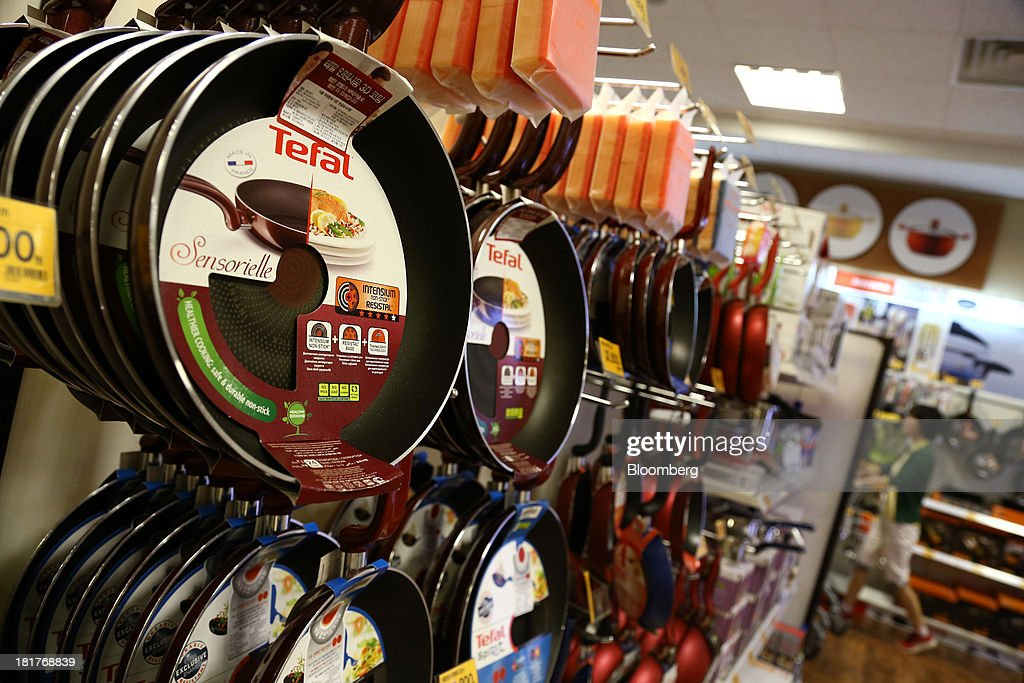 Tefal frying pans, manufactured by SEB SA, are displayed at an E-Mart Co. store, a subsidiary of Shinsegae Co., in Seoul, South Korea, on Tuesday, Sept. 24, 2013. The South Korean economy faces headwinds, with record household debt and a sluggish housing market weighing on consumption. Photographer: SeongJoon Cho/Bloomberg via Getty Images