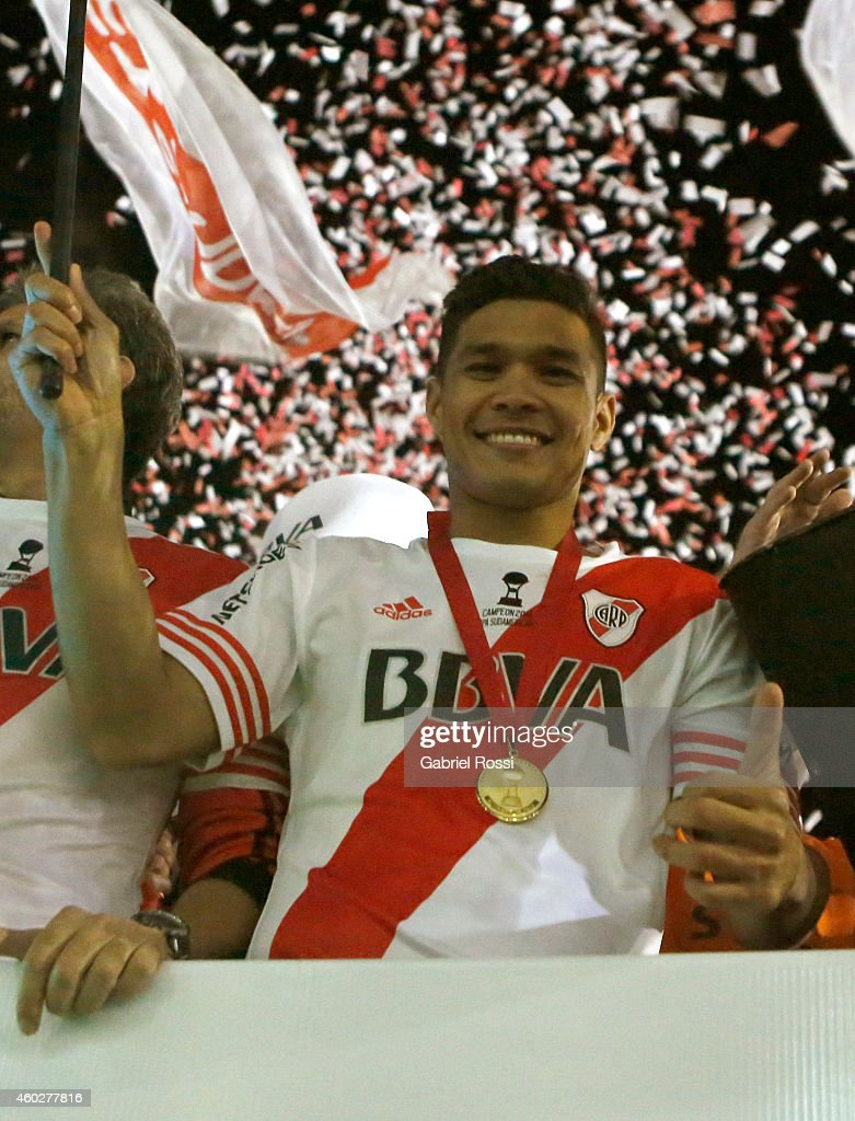 Teófilo Gutiérrez of River Plate celebrates after winning the second leg final match between River Plate and Atletico Nacional as part of Copa Total Sudamericana 2014 at Antonio Vespucio Liberti Stadium on December 10, 2014 in Buenos Aires, Argetina.