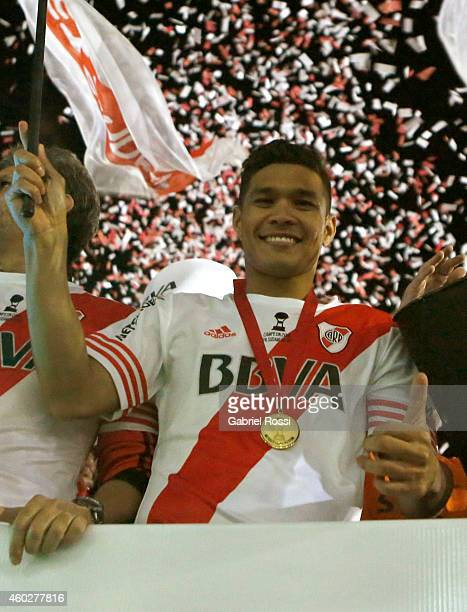 Teófilo Gutiérrez of River Plate celebrates after winning the second leg final match between River Plate and Atletico Nacional as part of Copa Total...