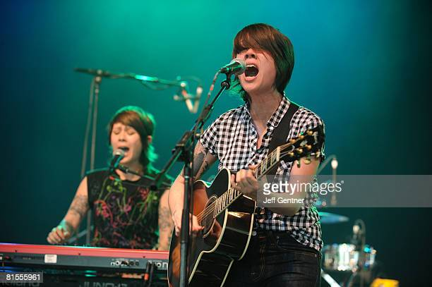 Tegan and Sara perform at the 2008 Bonnaroo Music and Arts Festival on June 13 2008 in Manchester Tennessee