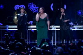 Tegan and Sara perform with Mary Lambert of Macklemore and Ryan Lewis during Z100's Jingle Ball 2013 presented by Aeropostale at Madison Square...