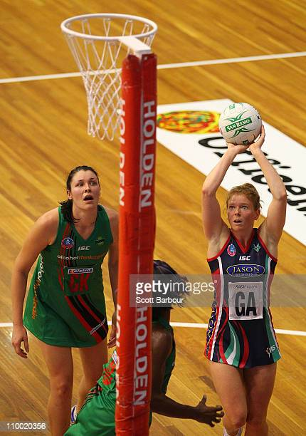 Tegan Caldwell shoots the ball during the round five ANZ Championship match between the Melbourne Vixens and the West Coast Fever at State Netball...