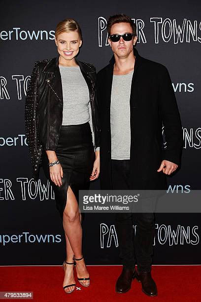 Tegan Martin and Angus Hood arrive at the Australian premiere of 'Paper Towns' at Miranda Westfield on July 5 2015 in Sydney Australia