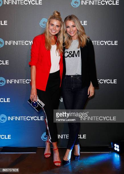 Tegan Martin and Anna Heinrich attend the Infinite Cycle Launch Event on October 24 2017 in Sydney Australia