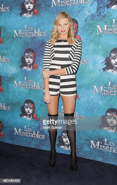 Tegan Martin arrives at a special performance of Les Miserables celebrating Bastille Day at Capitol Theatre on July 12 2015 in Sydney Australia