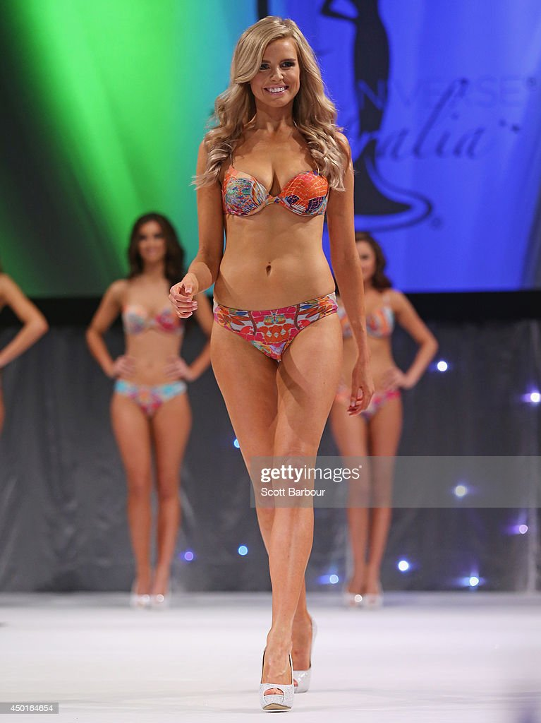 Tegan Martin of Newcastle, New South Wales parades in her swim wear before being crowned Miss Universe Australia 2014 on June 6, 2014 in Melbourne, Australia.