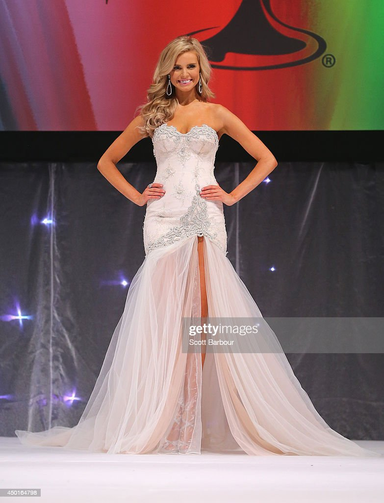 Tegan Martin of Newcastle, New South Wales poses in her formal wear before being crowned Miss Universe Australia 2014 on June 6, 2014 in Melbourne, Australia.
