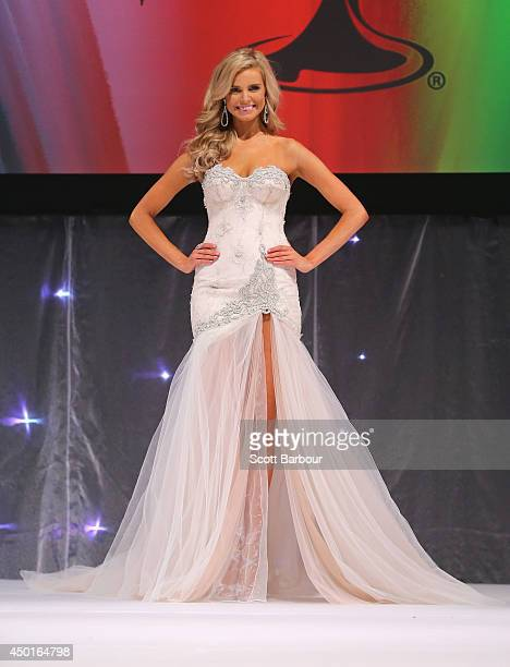 Tegan Martin of Newcastle New South Wales poses in her formal wear before being crowned Miss Universe Australia 2014 on June 6 2014 in Melbourne...