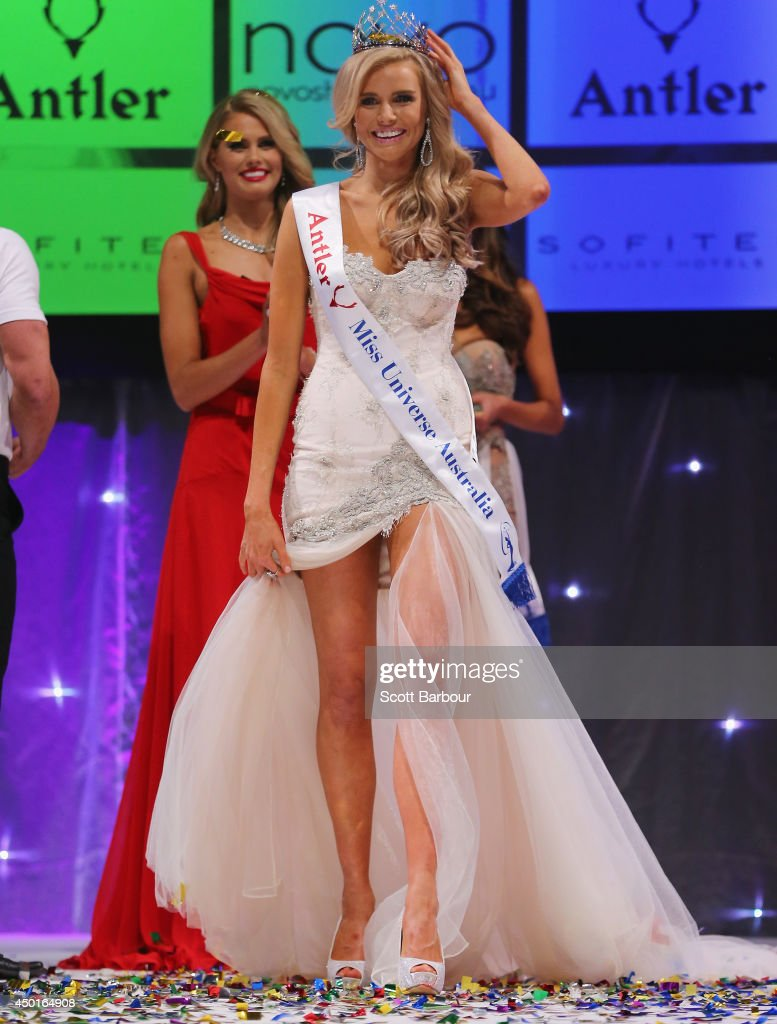 Tegan Martin of Newcastle, New South Wales reacts after being crowned Miss Universe Australia 2014 on June 6, 2014 in Melbourne, Australia.