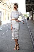 Tegan Martin poses wearing an Asilio dress at MercedesBenz Fashion Week Australia 2015 at Carriageworks on April 13 2015 in Sydney Australia