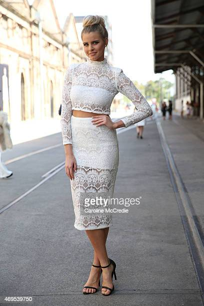 Tegan Martin poses wearing an Asilio dress at MercedesBenz Fashion Week Australia 2015 at Carriageworks on April 13 2015 in Sydney Australia