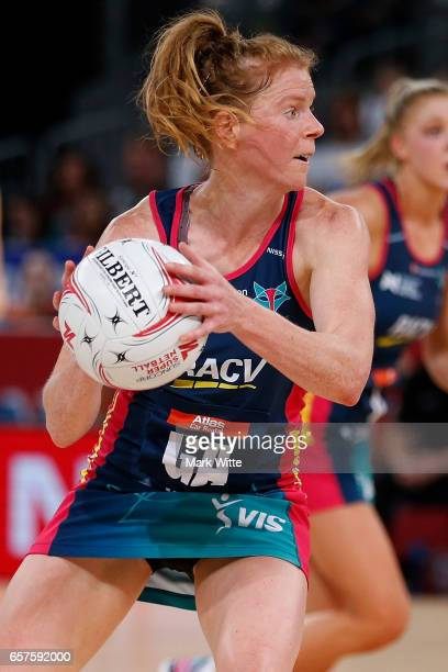 Tegan Philip of Melbourne Vixens plays the ball during the round six Super Netball match between the Vixens and the Giants at Hisense Arena on March...
