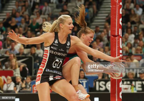 Tegan Philip of the Vixens and April Brandley of the Magpies compete for the ball during the round seven Super Netball match between the Magpies and...