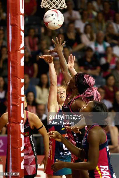 Tegan Philip of the Vixens has a shot on goal during the round eight Super Netball match between the Thunderbirds and the Vixens at Priceline Stadium...