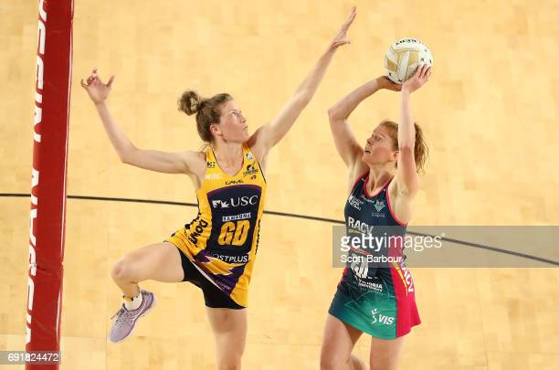 Tegan Philip of the Vixens shoots the ball during the Super Netball Major Semi Final match between the Vixens and the Lightning at Margaret Court...