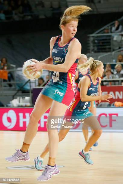Tegan Phillip of the Vixens takes the ball during the Super Netball Preliminary Final match between the Vixens and the Giants at Hisense Arena on...