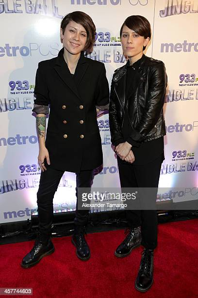 Tegan Quin and Sara Quin of Tegan and Sara attend 933 FLZ's Jingle Ball 2013 at the Tampa Bay Times Forum on December 18 2013 in Tampa Florida