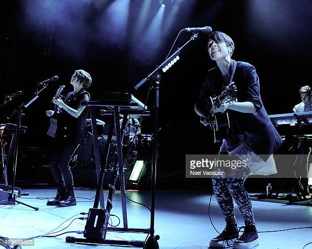 Tegan Quin and Sara Quin of Tegan and Sara perform at The Greek Theatre on September 3 2013 in Los Angeles California