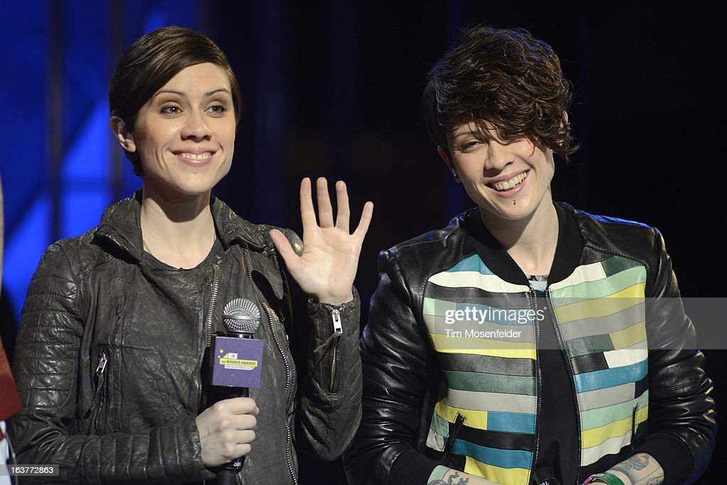 Tegan Quin (L) and Sara Quin of Tegan and Sara perform at the mtvU Woodie Awards on March 14, 2013 in Austin, Texas.