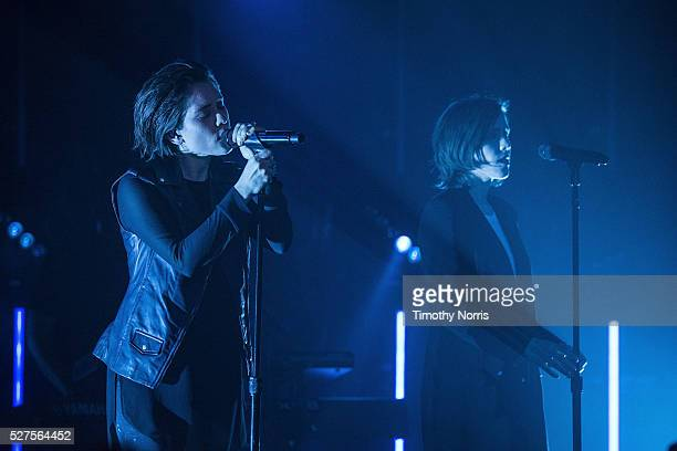 Tegan Quin and Sara Quin of Tegan and Sara perform at The Roxy Theatre on May 2 2016 in West Hollywood California