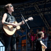 Tegan Quin and Sara Quin of Tegan and Sara perform during the 2014 Hangout Music Festival on May 17 2014 in Gulf Shores Alabama