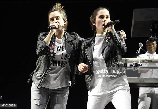 Tegan Quin and Sara Quin of Tegan Sara perform during the 2016 Life is Beautiful festival on September 23 2016 in Las Vegas Nevada