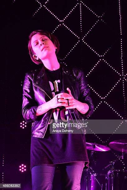 Tegan Quin of Tegan and Sara performs the Lexus Pop Up Concert Series Powered By Pandora on November 19 2014 in Costa Mesa California