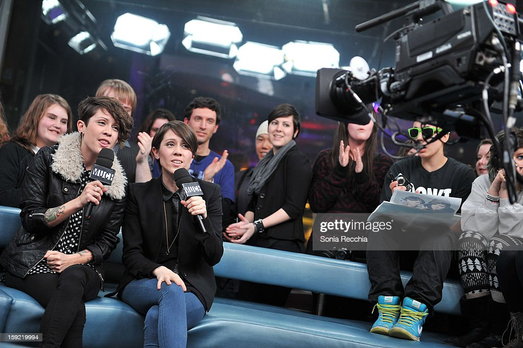 Tegan & Sarah Appearance On NEW.MUSIC.LIVE at MuchMusic HQ on January 9, 2013 in Toronto, Canada.