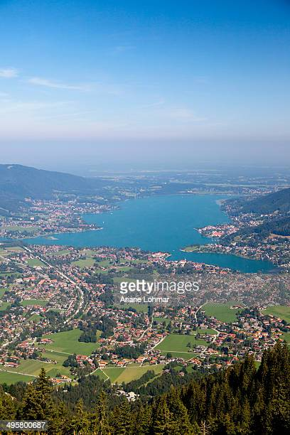 Tegernsee lake with Bad Wiessee, view from Wallenberg Mountain, Upper Bavaria, Bavaria, Germany