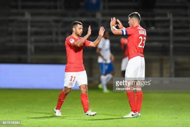 Tegi Savanier and Anthony Briancon of Nimes during the Ligue 2 match between Nimes and Aj auxerre on September 15 2017 in Nimes France