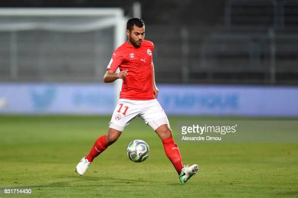 Tegi Savanier of Nimes during the Ligue 2 match between Nimes Olympique and As Nancy Lorraine at Stade des Costieres on August 14 2017 in Nimes