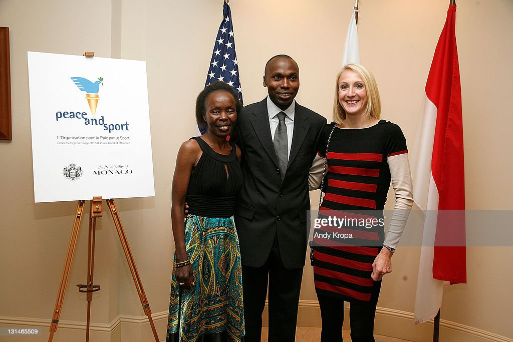 Tegla Loroupe, <a gi-track='captionPersonalityLinkClicked' href=/galleries/search?phrase=Wilson+Kipketer&family=editorial&specificpeople=162807 ng-click='$event.stopPropagation()'>Wilson Kipketer</a> and <a gi-track='captionPersonalityLinkClicked' href=/galleries/search?phrase=Paula+Radcliffe&family=editorial&specificpeople=202257 ng-click='$event.stopPropagation()'>Paula Radcliffe</a> attend a hosted VIP reception by Consul General of Monaco in New York, Maguy Maccario, for Champions of Peace and special guests from the Monaco-based Peace & Sports attending their first ING New York City Marathon on November 4, 2011 in New York City.