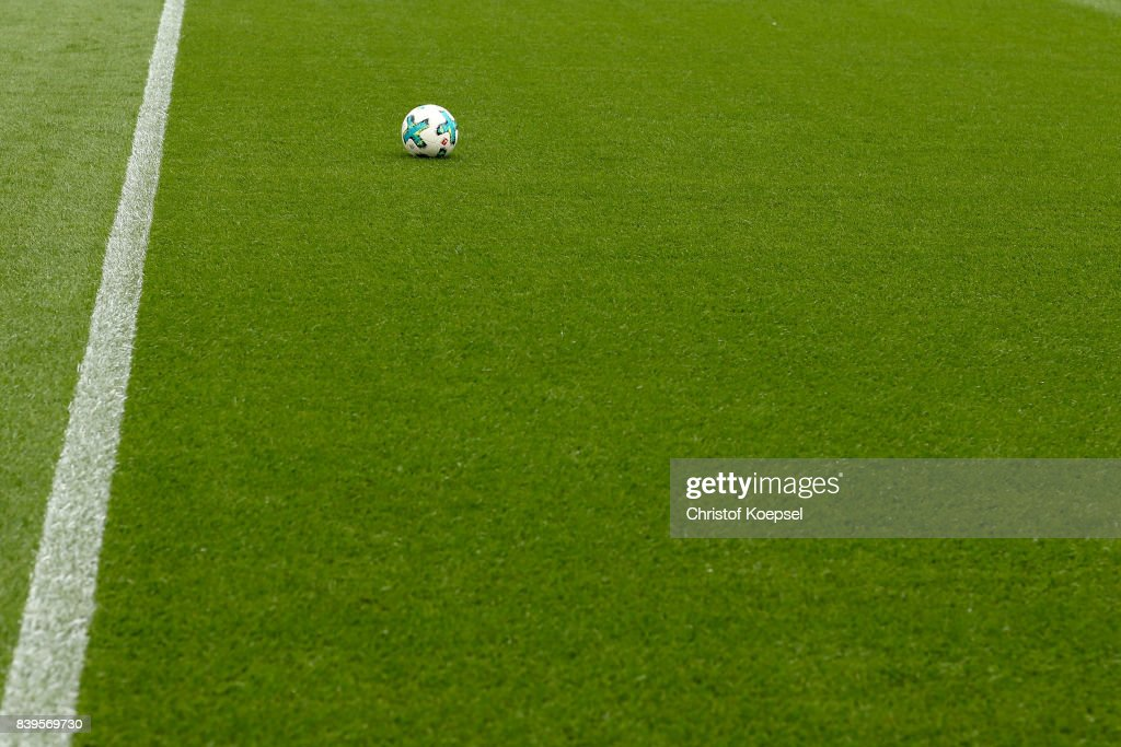 Teh Torfabrik ball lies on the pitch prior to the Bundesliga match between Bayer 04 Leverkusen and TSG 1899 Hoffenheim at BayArena on August 26, 2017 in Leverkusen, Germany.