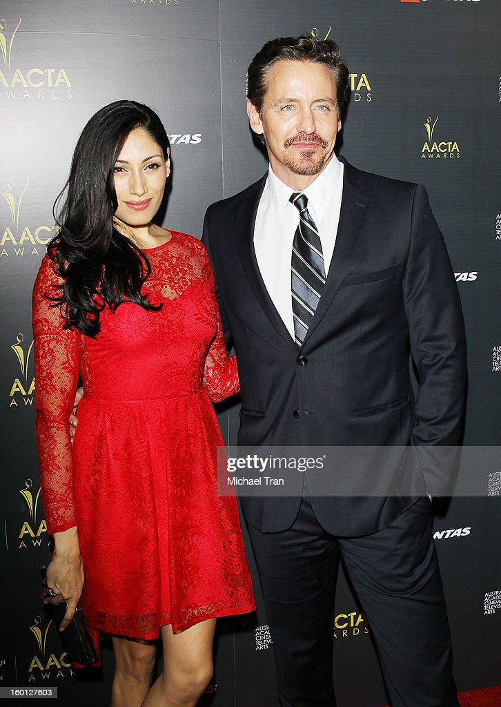Tehmina Sunny (L) and Charles Mesure arrive at the 2nd AACTA International Awards held at Soho House on January 26, 2013 in West Hollywood, California.