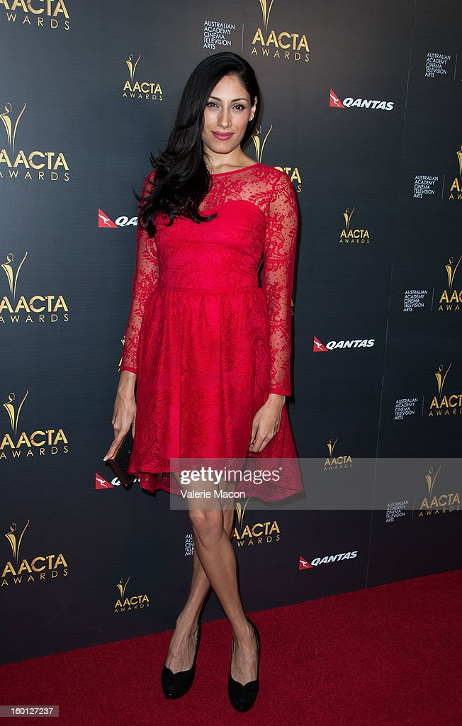 Tehmina Sunny arrives at Australian Academy Of Cinema And Television Arts' 2nd AACTA International Awards at Soho House on January 26, 2013 in West Hollywood, California.