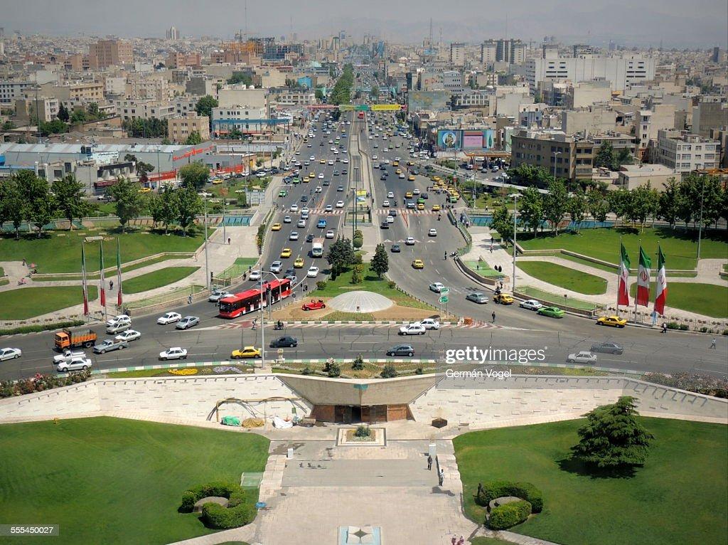 Tehran Azadi avenue aerial view into the horizon