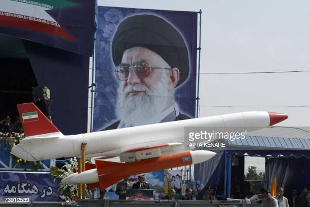 An Iranian missile is displayed during the army day military parade outside the mausoleum of the late founder of Islamic republic Ayatollah Khomeini...