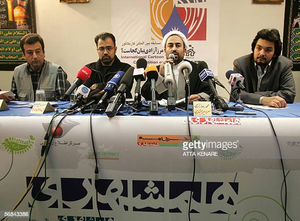 Iranian directors of a controversial cartoon contest of the Holocaust from L to R Davood Kazemi Hamshahri cartoonist Masous Shojai Tabatabai head of...