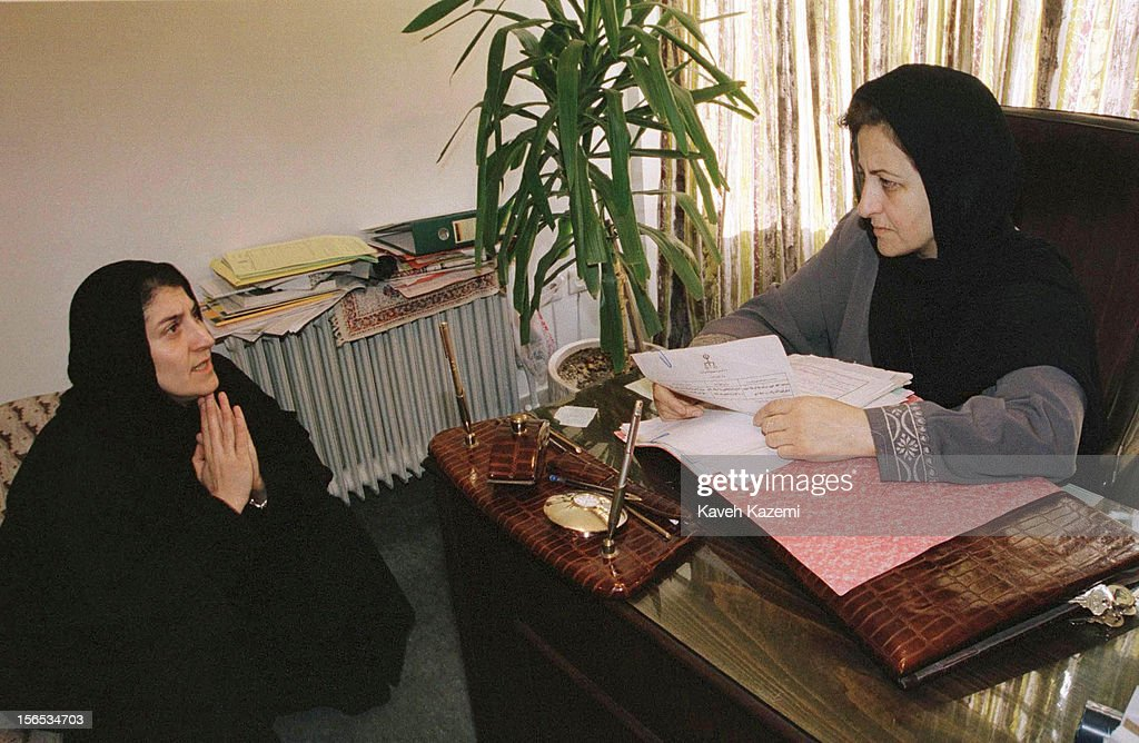 Iranian lawyer and activist <a gi-track='captionPersonalityLinkClicked' href=/galleries/search?phrase=Shirin+Ebadi&family=editorial&specificpeople=563922 ng-click='$event.stopPropagation()'>Shirin Ebadi</a> confers with her client Parastoo Forouhar whose parents were victims of political assassinations by rogue agents of Iranian secret service.